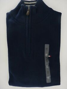 New Tommy Hilfiger Half Zip Man Sweater Pullover Solid  S M L 2XL