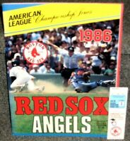 1986 BOSTON RED SOX VS CAL ANGELS SCORED ALCS GAME 1 PROGRAM & TICKET STUB