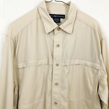 EXOFFICIO Men's Shirt M Beige Tan Long Sleeves Vented Camping Hiking Outdoors