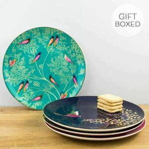 New Portmeirion Sara Miller Chelsea Collection Gold Cake Plate Set Gift Boxed