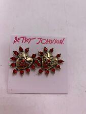 Betsey Johnson Rockin Riches Heart Earrings Z1