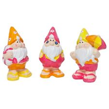 Set of 3 Ceramic Garden Gnome Ornaments in Summer Holiday Outfits