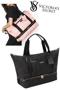 VICTORIA'S SECRET LARGE Black Getaway Overnight WEEKENDER Travel Duffle Bag