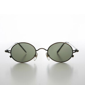 Oval Metal Spectacles 90s Vintage Sunglass Bronze / Green Lens - Greco