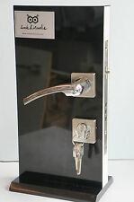 External Wooden Door Handle 5 Keys Brushed Steel Chrome Effect M142
