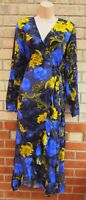 SELECTED FEMME GREY BLUE YELLOW LONG SLEEVE WRAP WRAPPED A LINE LONG DRESS 12