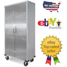Garage Metal Rolling Tool File Storage Cabinet Shelving Stainless Steel Doors
