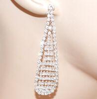 ORECCHINI strass donna argento pendenti cristalli brillantini earrings CC10