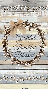 """23"""" Fabric Panel - Timeless Treasures Grateful Thankful Blessed Cotton Wreath"""