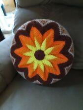 Vintage Handmade Crocheted Throw Pillow Orange Yellow Circular Cushion Yarn Foam