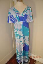 KIYOMI Hawaiian Maxi Dress flutter sleeve Hostess Aloha Tiki Liberty House Med