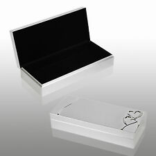Diamante Brushed Silver Plated Jewellery Box Gift Set Jewelery Earings Trinket