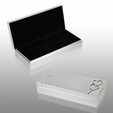 Diamante Brushed Silver Plated Jewellery Box Gift Set Jewelery Earings Trinket