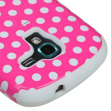 Samsung Galaxy Exhibit 4G T599 Pink Polka Dots Hard & Soft Rubber Hybrid Case
