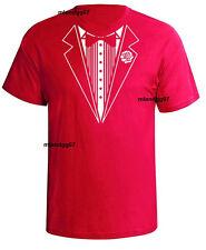 Funny T-Shirt Tuxedo Wedding Tie Shirt Fake Tux Bachelor S- 5XL