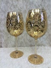 Beautiful Pair (2) of Gold Iridescent Water Goblets with Gold Swirl Design  22oz