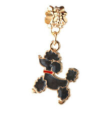 2pcs 18K gilded dog LAMPWORK fit European Charm Bracelet pendant Chain DIY A#123