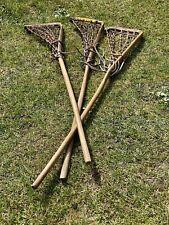 3 Antique Vintage Lacrosse Sticks In Original Condition