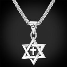 Star of David Cross Pendant Necklace Gold Plated Silver Charm Christian Jewish