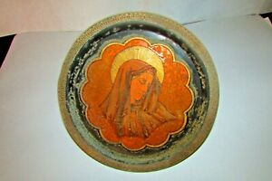 Dish of antique copper, Mary blessed mother, Coptic dish, handmade in Egypt