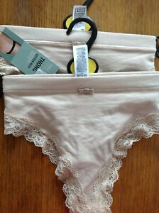 THONG SIZE 16 M&S 2 PAIR ALMOND W LACE AROUND LEGS COMFORT WAISTBAND COTTON RICH