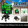 12 Lines 3D Green Laser Level 360° Self Leveling Li-ion Cross Measure Tool Kit