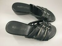 Softlites size 5 (38) black faux leather strappy slip on wedge heel mule sandals
