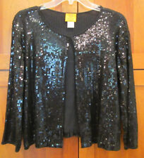RUBY RD. ROAD Black Sequin 3/4 Sleeve Evening Dressy Jacket Cardigan PL