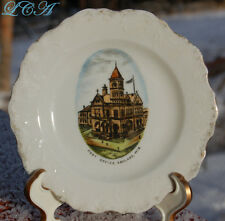 Rare early Ashland Wisconsin piece of antique souvenir china w/pic Post Office