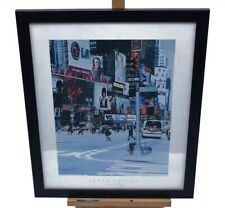 Pedro Caules Picture New York Manhatten Framed Wall Art Modern Street Scene Rare