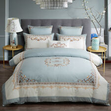 Egyptian Cotton Duvet Cover Set Blue White Queen King size Bedding set Bed Sheet