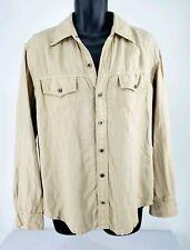 Ag Adriano Goldschmied Mens Khaki Linen Long Sleeve Button Up Shirt Size M