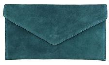 Suede Italian Genuine Leather Flat Envelope Rose Gold Clutch Bag Wrist Handbag