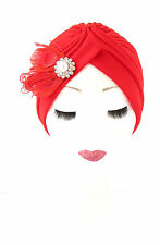 Red Silver White Feather Turban 1920s Headpiece Flapper Vintage Hair Cloche 521