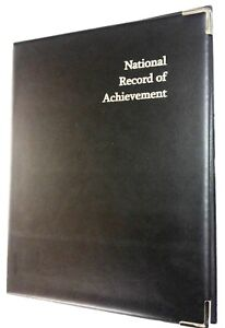 Two NATIONAL RECORD OF ACHIEVEMENT PVC FOLDER-BLACK LEATHER LOOK/ SILVER PRINT
