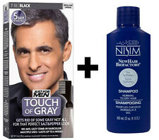 Just For Men Touch of Grey Black Gray T55 Mens Hair Colour Dye + Nisim Shampoo