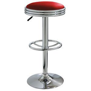 AmeriHome BS1208R Soda Fountain Style Bar Stool - Red