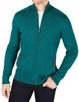 Alfani Mens Sweater Cape Verde Green Size 2XL Full Zip Ribbed Mock-Neck $75 158