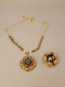 All Signed WEST GERMANY Vtg Lot 2pc Necklace Brooch Glass ClearCrystal FauxPearl