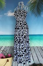 Bandeau boob tube maxi dress | black and white print | ruche cotton | Holley Day