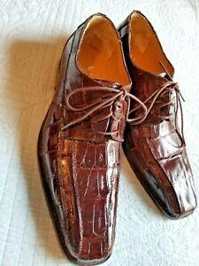 Men's VERO CUOIO  Brown Dress Shoes Men's Size 12 GENUINE CAIMAN CROCODILE