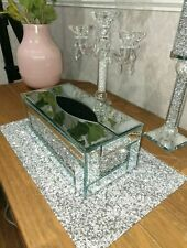 Silver Crushed Crystal Diamond Tissue Box, Diamante Bling, Living Room NEW_UK