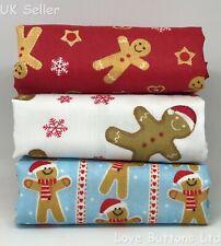 RED WHITE & BLUE CHRISTMAS GINGERBREAD MAN COOKIES 3 FAT QUARTER BUNDLES FABRIC