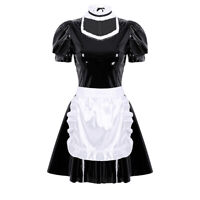 Women's Sexy PVC Leather French Apron Maid Costume Outfit Halloween Fancy Dress
