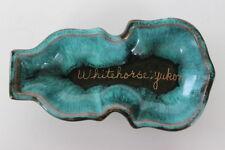 Vintage Whitehorse Yukon Souvenir Ceramic Pottery Trinket Dish Turquoise Glazed