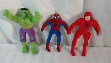 Marvel Comics Kellytoy Hulk Spiderman And Daredevil Plush Characters Lot Of 3!