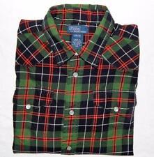 POLO RALPH LAUREN Boys Green Plaid Long Sleeve Western Shirt Size Large (16-18)