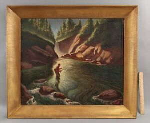 Lrg Antique 1940s Oil Painting Fly Fishing Fisherman Mountain Western Landscape