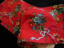 B3 étroit coupon de tissu ancien rouge fleur cantonniére? noeud ruban