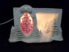 Hershey Mold- Christmas Tree & Village Scene-LIGHT-Ready to Paint Ceramic Bisque